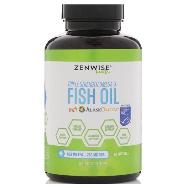 Zenwise Health, Рыбий жир с Омега-3 тройного действия с AlaskOmega, 120 мягких таблеток (Discontinued Item)