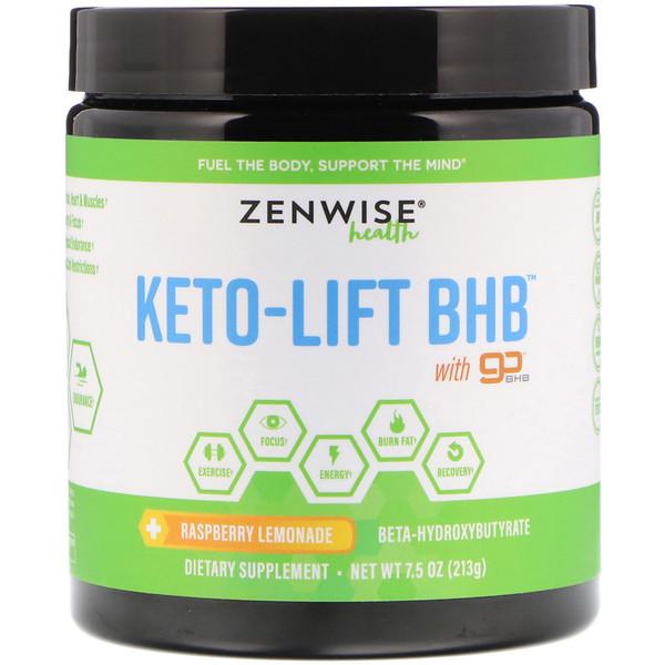 Zenwise Health, Keto-Lift BHB, бета-гидроксибутират, малиновый лимонад, 213 г (7,5 унции)