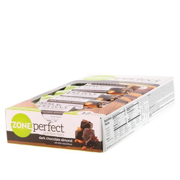 Питательные батончики, темный шоколад с миндалем, 12 батончиков, весом 45 г (1,58 унции) каждый