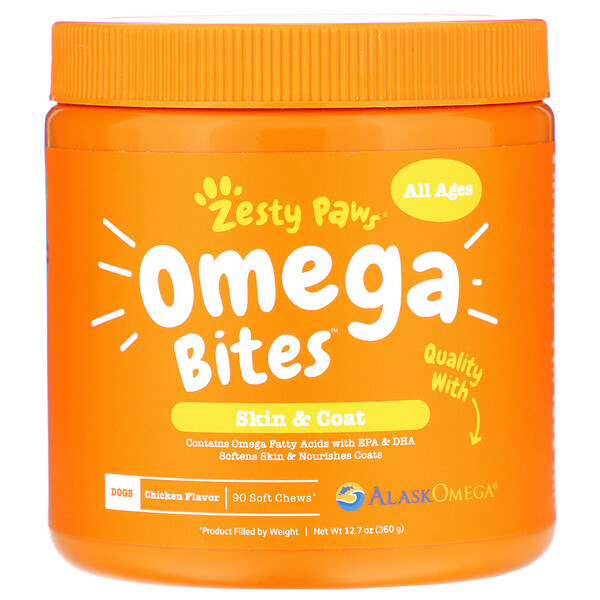 Omega Bites, добавка для собак, для любого возраста, со вкусом курицы, 90мягких жевательных таблеток
