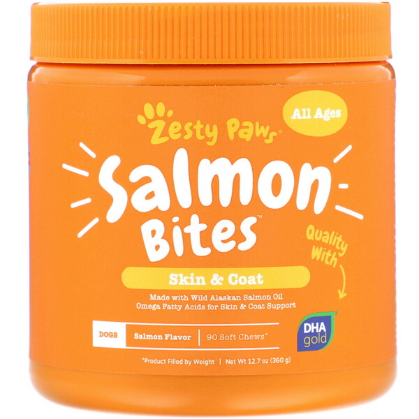 Salmon Bites for Dogs, Skin & Coat, All Ages, Salmon Flavor, 90 Soft Chews