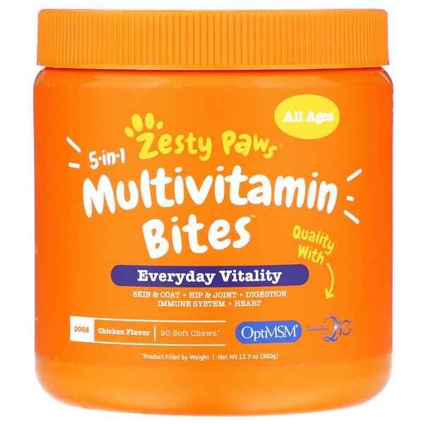 Multivitamin Bites, мультивитаминная добавка для собак 5в1, для повышения тонуса, для любого возраста, со вкусом курицы, 90мягких жевательных таблеток, 360г (12,7унции)