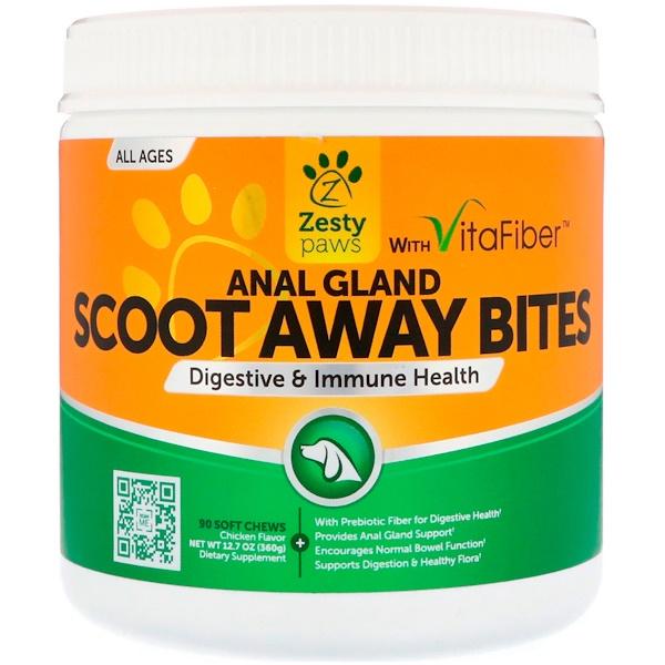 Zesty Paws, Scoot Away Bites, Здоровое пищеварение и иммунитет, Для собак, Для всех возрастов, Вкус курицы, 90 мягких жевательных таблеток (Discontinued Item)