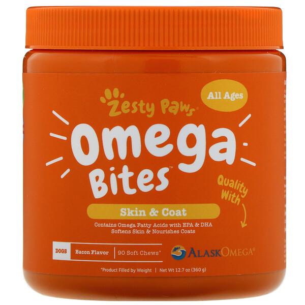 Omega Bites, добавка для собак, для здоровья кожи и шерсти животных, с ароматизатором «Бекон», 90мягких жевательных таблеток